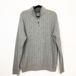 MENS: Italian Cable Sweater Gray Daniele Blasi